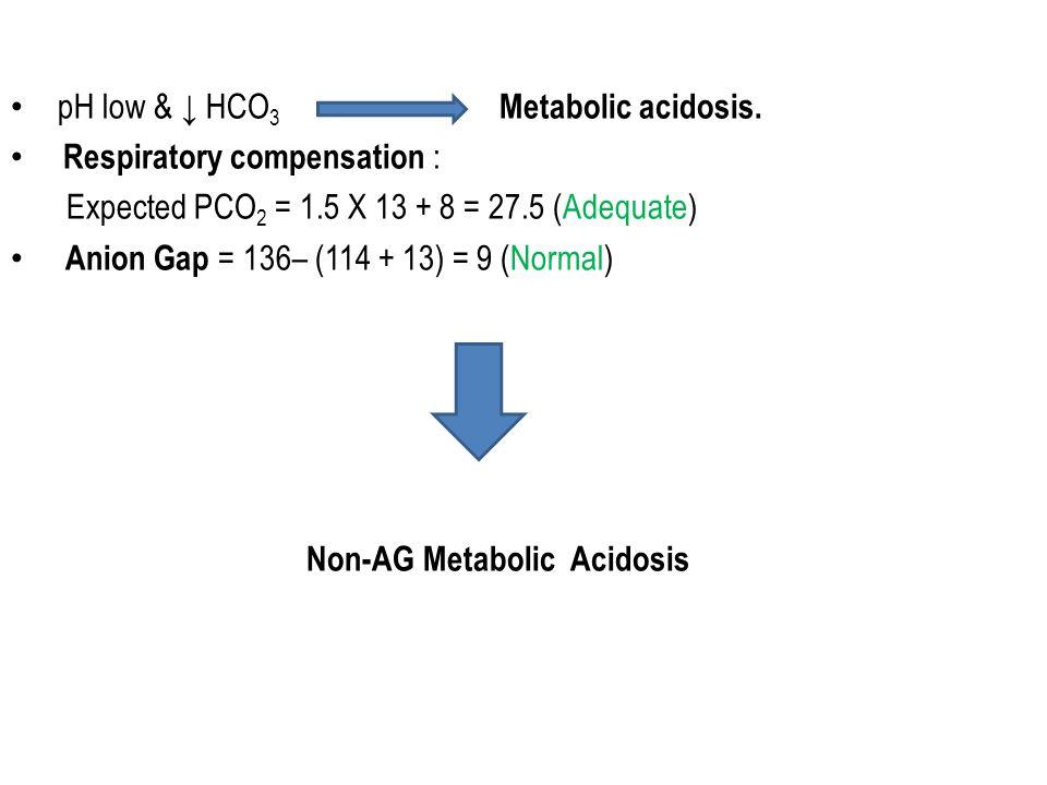 pH low & ↓ HCO 3 Metabolic acidosis. Respiratory compensation : Expected PCO 2 = 1.5 X 13 + 8 = 27.5 (Adequate) Anion Gap = 136– (114 + 13) = 9 (Norma