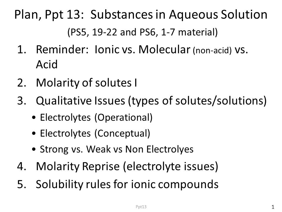 Plan, Ppt 13: Substances in Aqueous Solution (PS5, 19-22 and PS6, 1-7 material) 1.Reminder: Ionic vs.