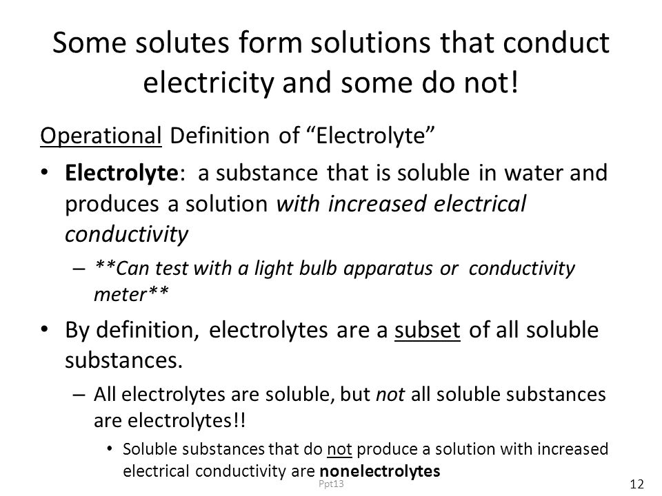 """Some solutes form solutions that conduct electricity and some do not! Operational Definition of """"Electrolyte"""" Electrolyte: a substance that is soluble"""
