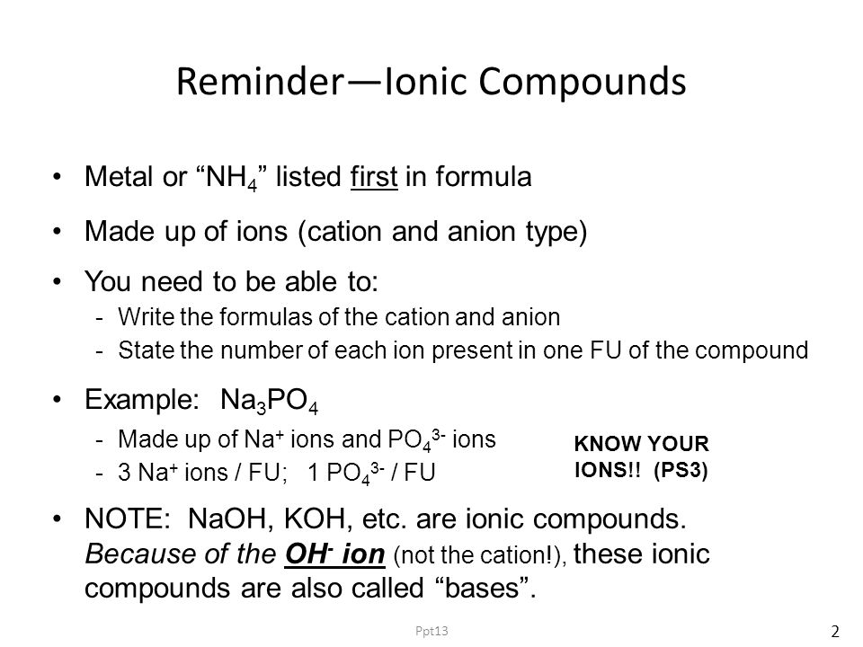 Reminder—Ionic Compounds Metal or NH 4 listed first in formula -Write the formulas of the cation and anion -State the number of each ion present in one FU of the compound Made up of ions (cation and anion type) You need to be able to: Example: Na 3 PO 4 -Made up of Na + ions and PO 4 3- ions -3 Na + ions / FU; 1 PO 4 3- / FU NOTE: NaOH, KOH, etc.