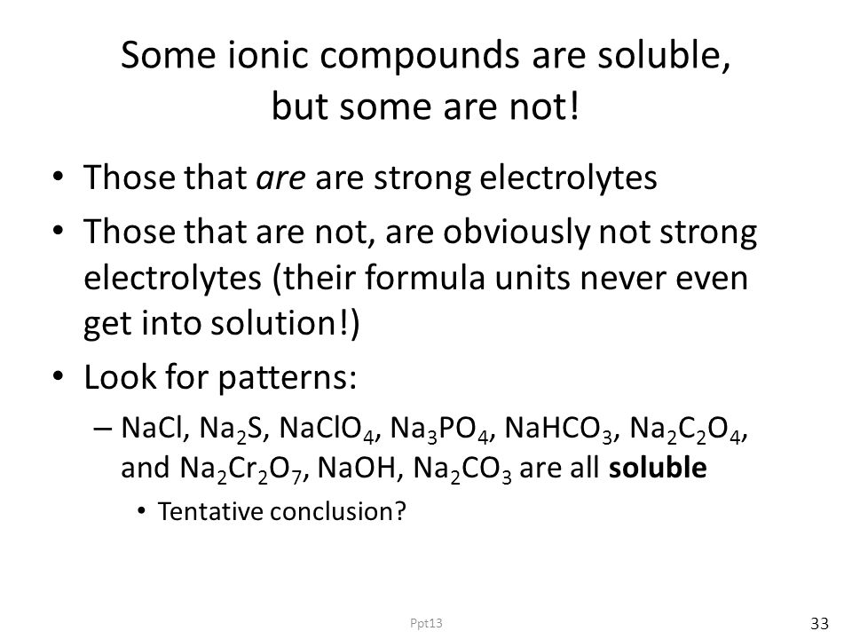 Some ionic compounds are soluble, but some are not! Those that are are strong electrolytes Those that are not, are obviously not strong electrolytes (
