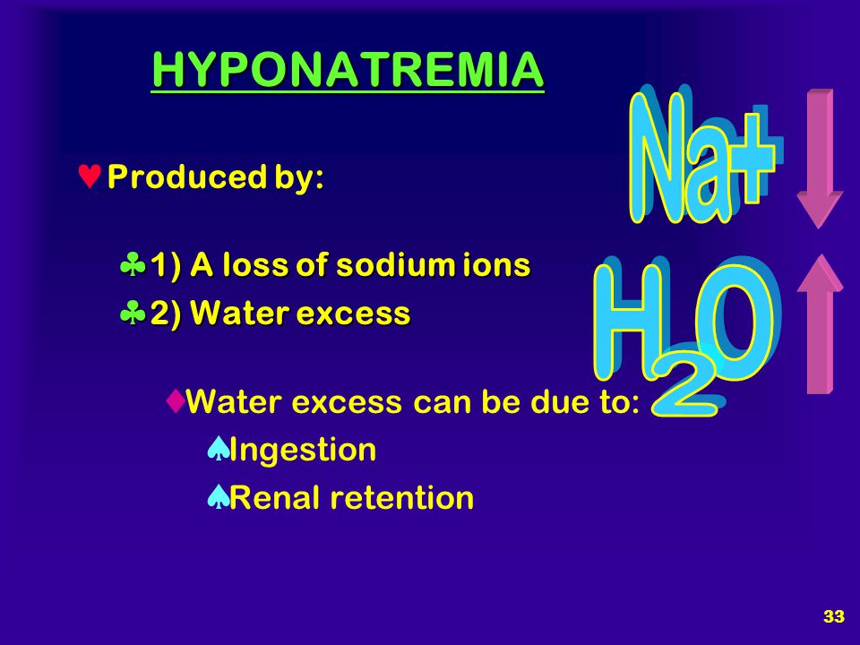 32 SYMPTOMS OF HYPONATREMIA Primarily neurological (net flux of water into the brain) 125 meq / liter Sodium ion levels of 125 meq / liter are enough