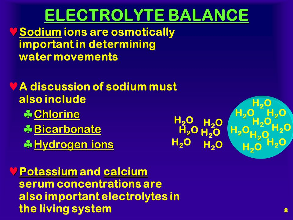 7 ELECTROLYTE BALANCE Na + Sodium (Na + ) ions are the important cations in extracellular fluid Cl - HCO 3 - Anions which accompany sodium are chlorid