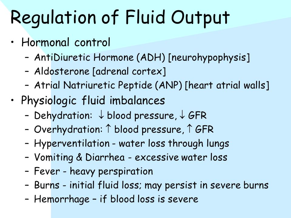 Regulation of Fluid Output Hormonal control –AntiDiuretic Hormone (ADH) [neurohypophysis] –Aldosterone [adrenal cortex] –Atrial Natriuretic Peptide (ANP) [heart atrial walls] Physiologic fluid imbalances –Dehydration:  blood pressure,  GFR –Overhydration:  blood pressure,  GFR –Hyperventilation - water loss through lungs –Vomiting & Diarrhea - excessive water loss –Fever - heavy perspiration –Burns - initial fluid loss; may persist in severe burns –Hemorrhage – if blood loss is severe