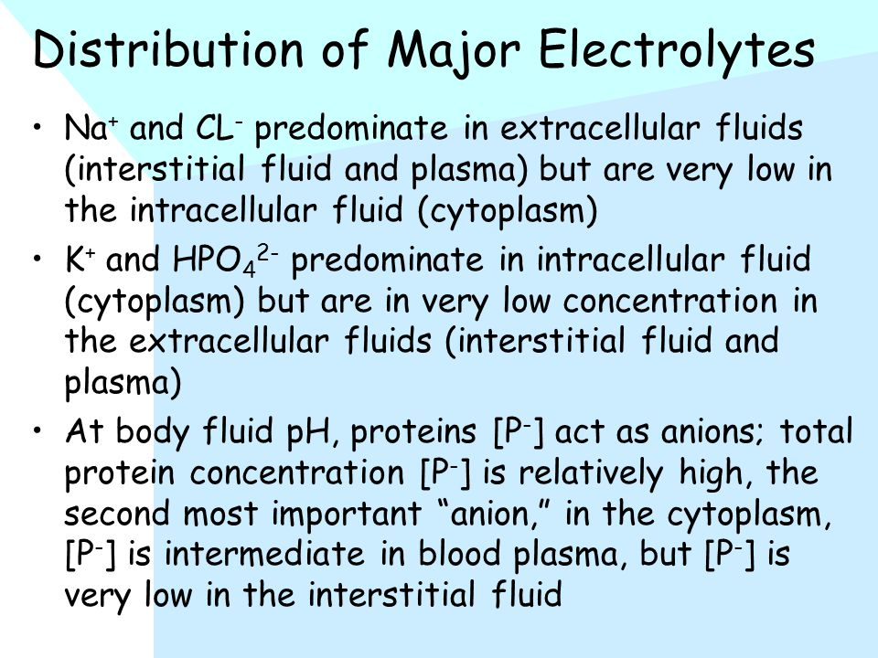 Distribution of Major Electrolytes Na + and CL - predominate in extracellular fluids (interstitial fluid and plasma) but are very low in the intracellular fluid (cytoplasm) K + and HPO 4 2- predominate in intracellular fluid (cytoplasm) but are in very low concentration in the extracellular fluids (interstitial fluid and plasma) At body fluid pH, proteins [P - ] act as anions; total protein concentration [P - ] is relatively high, the second most important anion, in the cytoplasm, [P - ] is intermediate in blood plasma, but [P - ] is very low in the interstitial fluid