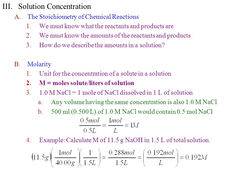 5.Example: M = .for 1.56 g HCl in a total of 26.8 ml of solution.