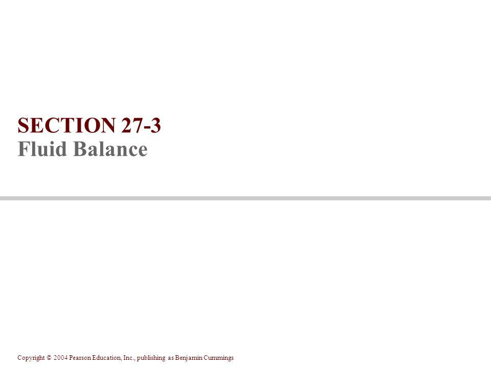 Copyright © 2004 Pearson Education, Inc., publishing as Benjamin Cummings SECTION 27-3 Fluid Balance