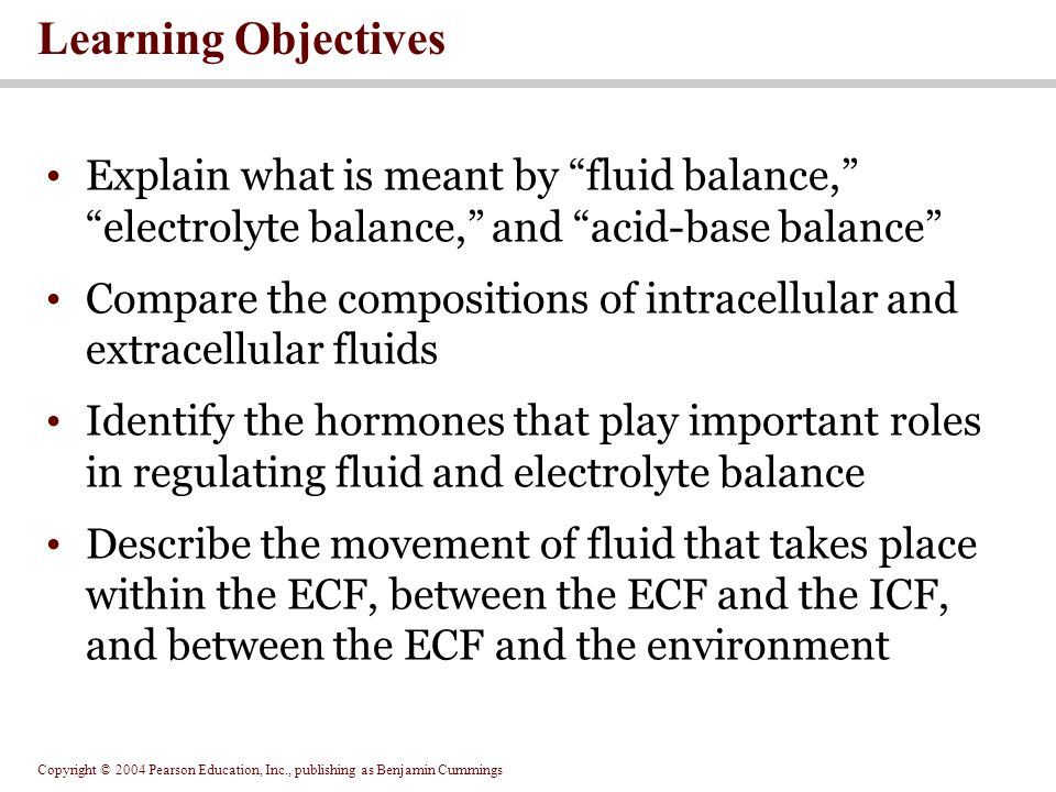 Copyright © 2004 Pearson Education, Inc., publishing as Benjamin Cummings Learning Objectives Discuss how sodium, potassium, calcium and chloride ions are regulated to maintain electrolyte balance Explain the buffering systems that balance the pH of the intracellular and extracellular fluids Describe the compensatory mechanisms involved in acid-base balance