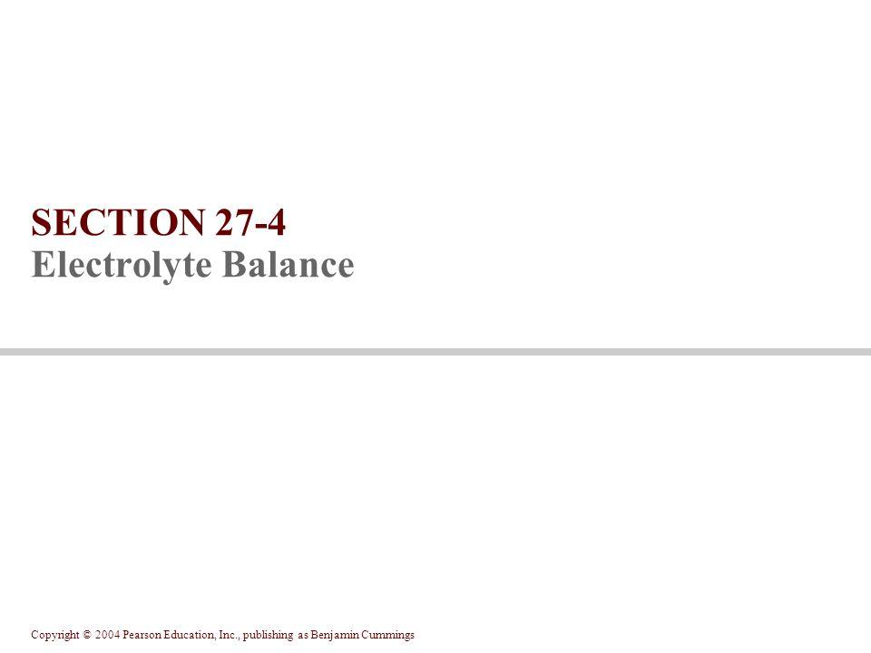 Copyright © 2004 Pearson Education, Inc., publishing as Benjamin Cummings SECTION 27-4 Electrolyte Balance