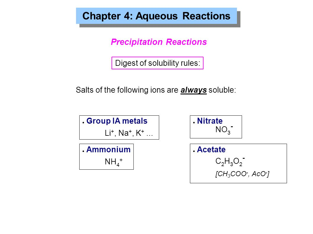 Chapter 4: Aqueous Reactions Precipitation Reactions Digest of solubility rules: Salts of the following ions are always soluble: ● Group IA metals Li +, Na +, K +...