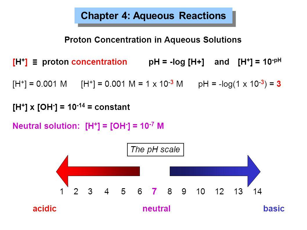 Chapter 4: Aqueous Reactions Proton Concentration in Aqueous Solutions [H + ] ≡ proton concentrationpH = -log [H+] [H + ] = 0.001 M[H + ] = 0.001 M =
