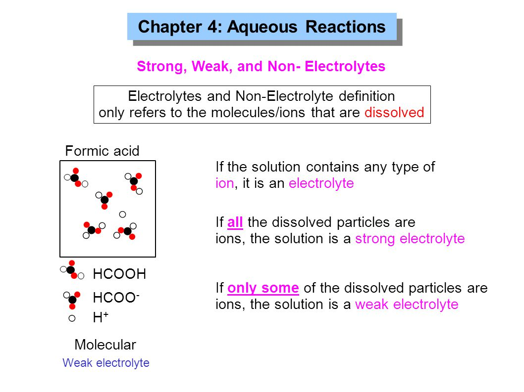 Chapter 4: Aqueous Reactions Formic acid HCOOH HCOO - H+H+ Electrolytes and Non-Electrolyte definition only refers to the molecules/ions that are diss