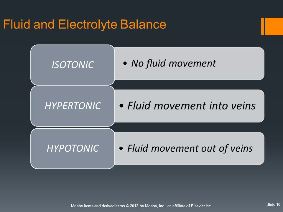 Slide 10 Mosby items and derived items © 2012 by Mosby, Inc., an affiliate of Elsevier Inc. Fluid and Electrolyte Balance No fluid movement ISOTONIC F