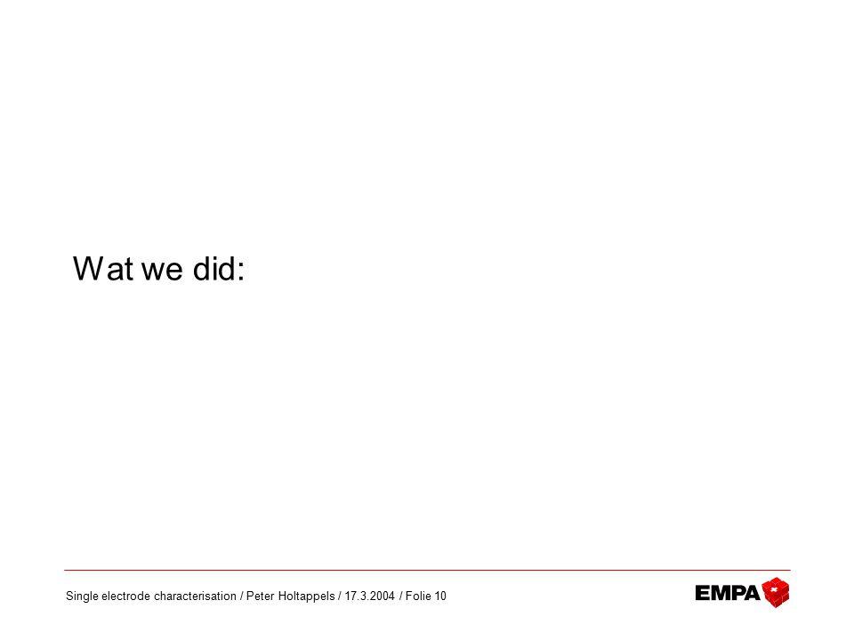 Single electrode characterisation / Peter Holtappels / 17.3.2004 / Folie 10 Wat we did: