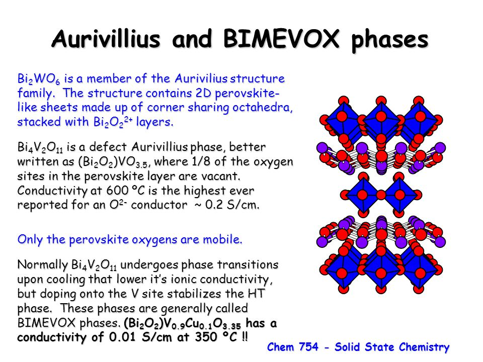 Chem 754 - Solid State Chemistry Aurivillius and BIMEVOX phases Bi 2 WO 6 is a member of the Aurivilius structure family. The structure contains 2D pe