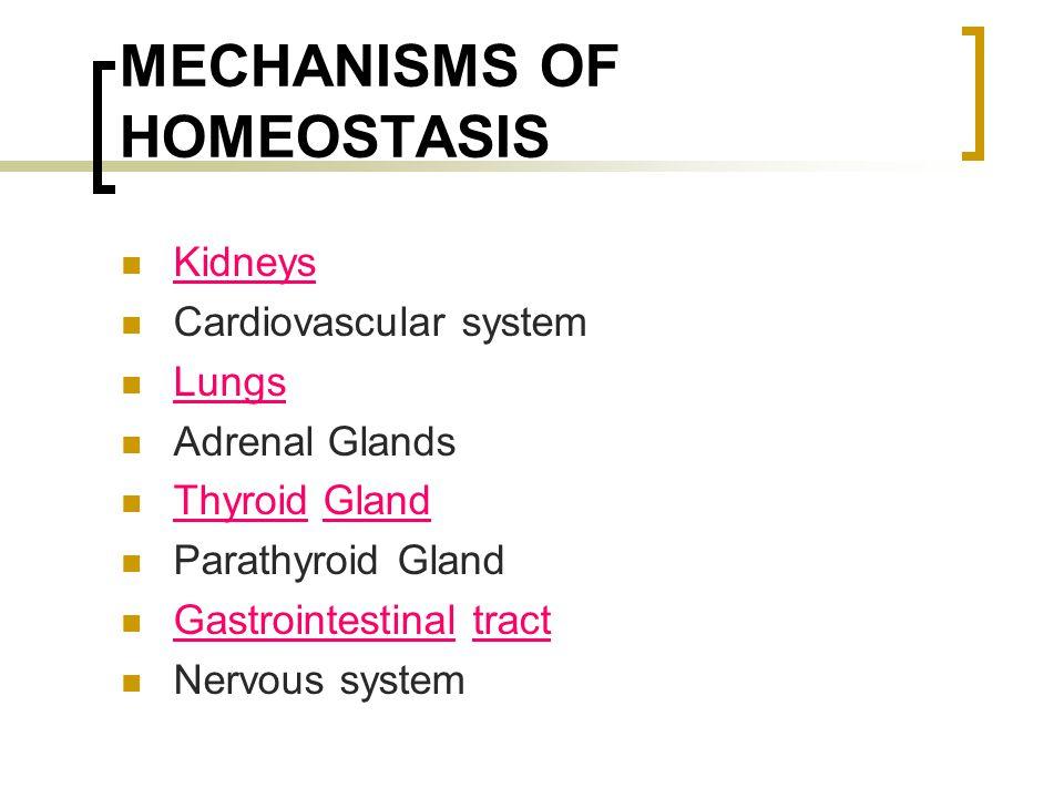 MECHANISMS OF HOMEOSTASIS Kidneys Cardiovascular system Lungs Adrenal Glands Thyroid Gland Parathyroid Gland Gastrointestinal tract Nervous system