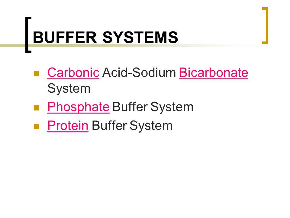 BUFFER SYSTEMS Carbonic Acid-Sodium Bicarbonate System Phosphate Buffer System Protein Buffer System
