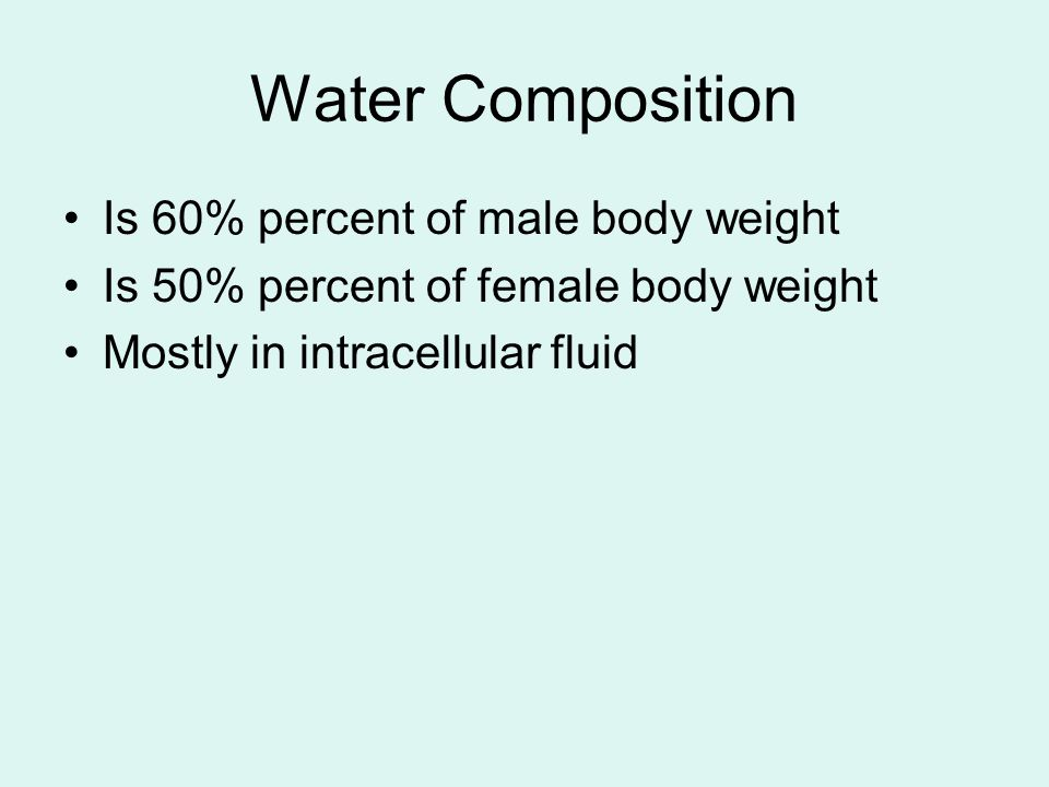 Water Composition Is 60% percent of male body weight Is 50% percent of female body weight Mostly in intracellular fluid