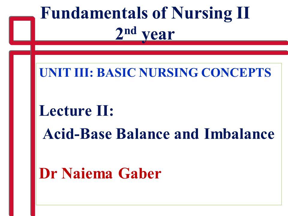 UNIT III: BASIC NURSING CONCEPTS Lecture II: Acid-Base Balance and Imbalance Dr Naiema Gaber Fundamentals of Nursing II 2 nd year