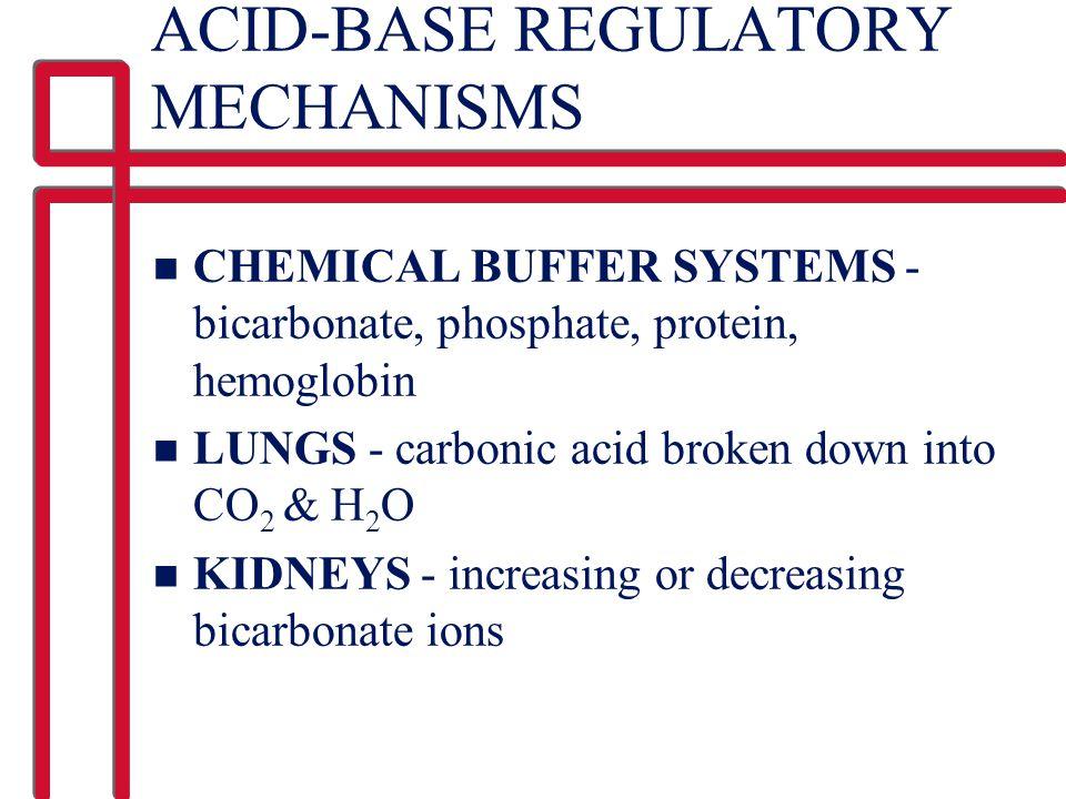 ACID-BASE REGULATORY MECHANISMS n CHEMICAL BUFFER SYSTEMS - bicarbonate, phosphate, protein, hemoglobin n LUNGS - carbonic acid broken down into CO 2 & H 2 O n KIDNEYS - increasing or decreasing bicarbonate ions