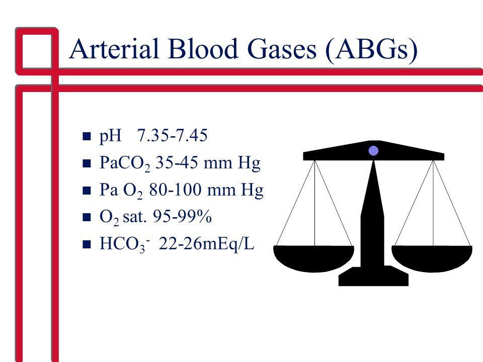 Arterial Blood Gases (ABGs) n pH 7.35-7.45 n PaCO 2 35-45 mm Hg n Pa O 2 80-100 mm Hg n O 2 sat.