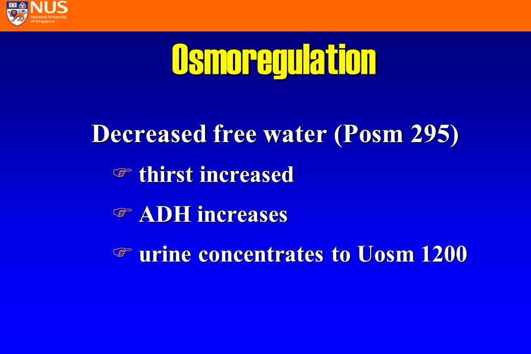 Treatment of Hyponatremia l replace volume deficits in dehydration l restrict free water in overload Na required = [desired Na] - [actual Na] x (TBW) TBW = 0.6xWt Correct half the deficit over 12 hours and reassess