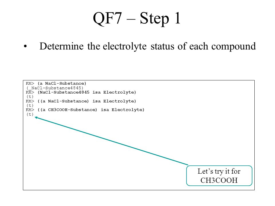 QF7 – Step 1 Determine the electrolyte status of each compound KM> (a NaCl-Substance) (_NaCl-Substance4845) KM> (NaCl-Substance4845 isa Electrolyte) (t) KM> ((a NaCl-Substance) isa Electrolyte) (t) KM> ((a CH3COOH-Substance) isa Electrolyte) (t) Let's try it for CH3COOH