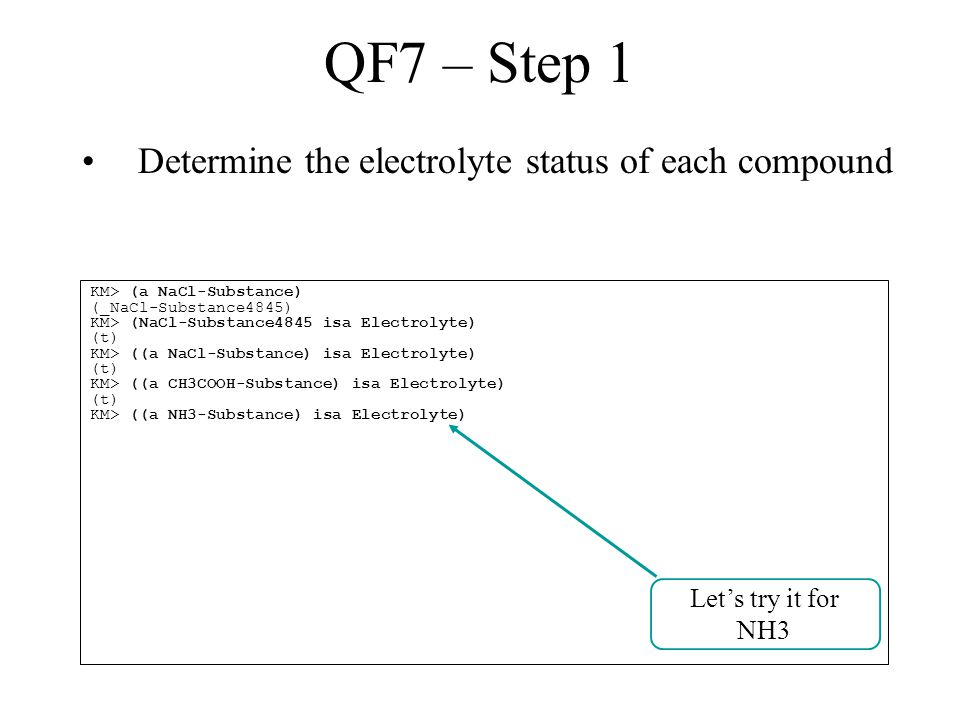 QF7 – Step 1 Determine the electrolyte status of each compound KM> (a NaCl-Substance) (_NaCl-Substance4845) KM> (NaCl-Substance4845 isa Electrolyte) (t) KM> ((a NaCl-Substance) isa Electrolyte) (t) KM> ((a CH3COOH-Substance) isa Electrolyte) (t) KM> ((a NH3-Substance) isa Electrolyte) Let's try it for NH3