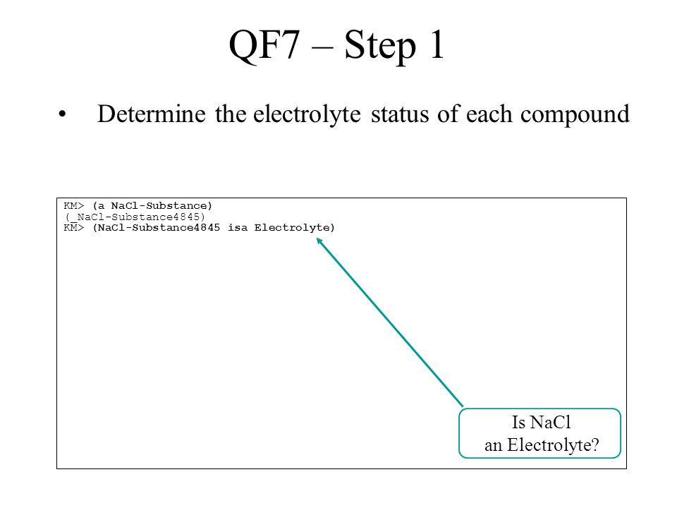 QF7 – Step 1 Determine the electrolyte status of each compound KM> (a NaCl-Substance) (_NaCl-Substance4845) KM> (NaCl-Substance4845 isa Electrolyte) Is NaCl an Electrolyte