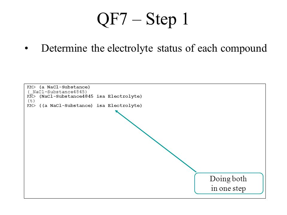QF7 – Step 1 Determine the electrolyte status of each compound KM> (a NaCl-Substance) (_NaCl-Substance4845) KM> (NaCl-Substance4845 isa Electrolyte) (t) KM> ((a NaCl-Substance) isa Electrolyte) Doing both in one step