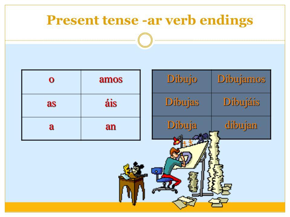 Present tense -ar verb endings oamos asáis aanDibujoDibujamosDibujasDibujáis Dibujadibujan