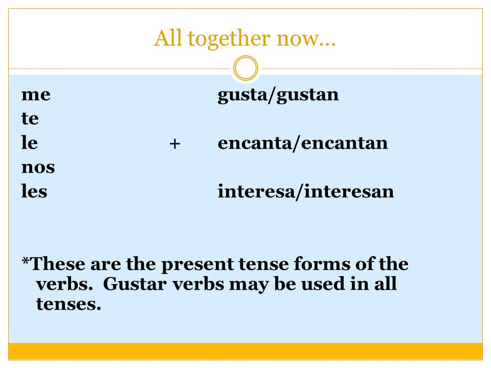 All together now… me gusta/gustan te le +encanta/encantan nos les interesa/interesan *These are the present tense forms of the verbs.