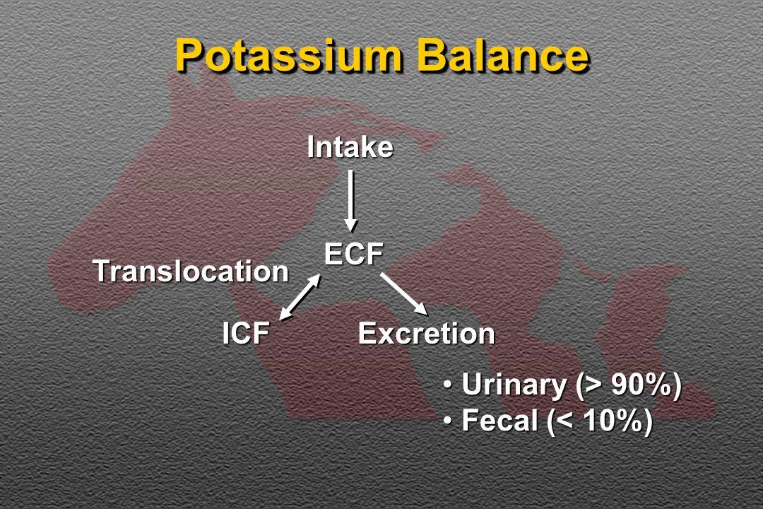 Potassium Balance IntakeECF ICF Translocation Excretion Urinary (> 90%) Urinary (> 90%) Fecal (< 10%) Fecal (< 10%)
