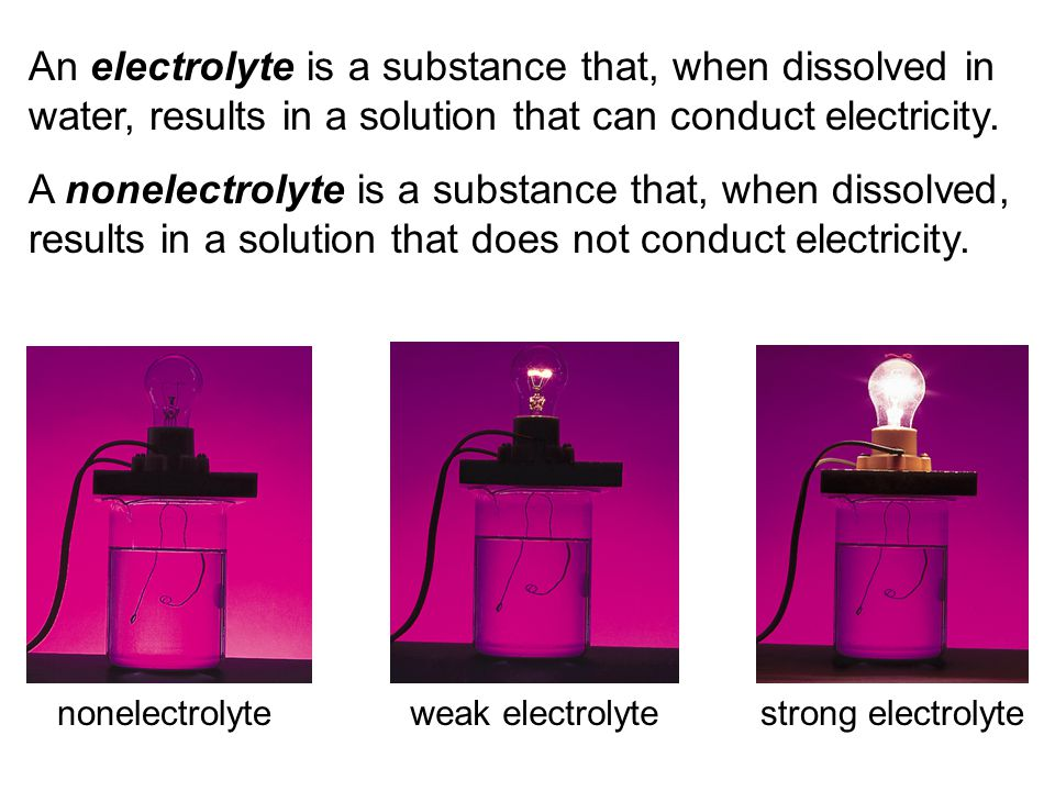 Strong Electrolyte – 100% dissociation NaCl (s) Na + (aq) + Cl - (aq) H2OH2O Weak Electrolyte – not completely dissociated CH 3 COOH CH 3 COO - (aq) + H + (aq) Conduct electricity in solution.