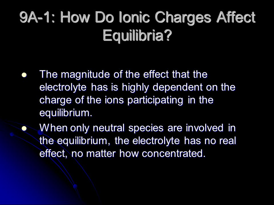 9A-1: How Do Ionic Charges Affect Equilibria.