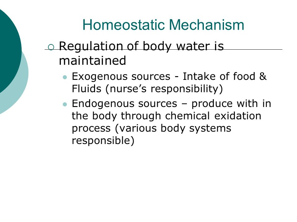 Homeostatic Mechanism  Regulation of body water is maintained Exogenous sources - Intake of food & Fluids (nurse's responsibility) Endogenous sources