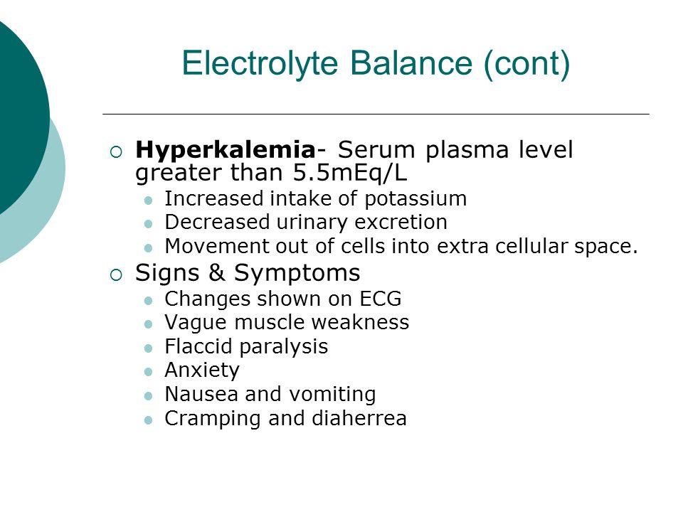 Electrolyte Balance (cont)  Hyperkalemia- Serum plasma level greater than 5.5mEq/L Increased intake of potassium Decreased urinary excretion Movement
