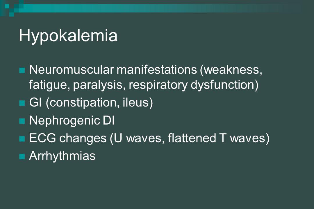 Hypokalemia Neuromuscular manifestations (weakness, fatigue, paralysis, respiratory dysfunction) GI (constipation, ileus) Nephrogenic DI ECG changes (U waves, flattened T waves) Arrhythmias