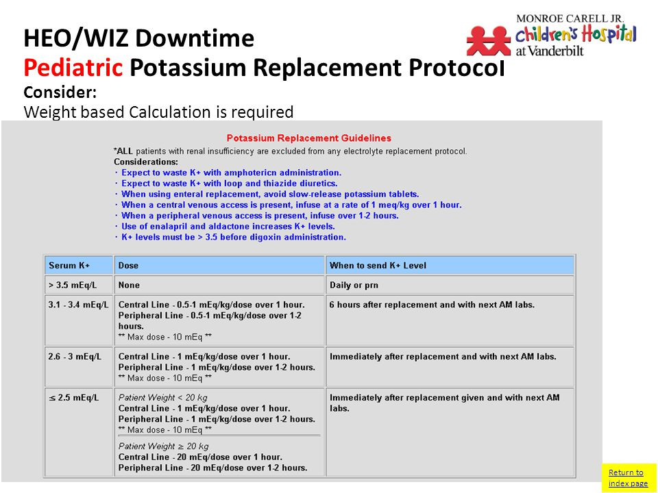 HEO/WIZ Downtime Pediatric Potassium Replacement Protocol Consider: Weight based Calculation is required Return to index page