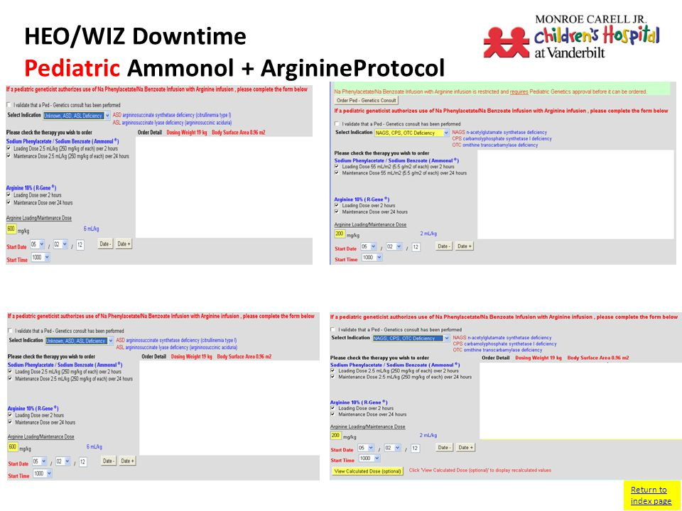 HEO/WIZ Downtime NICU Fluid Ordering Screen Return to index page