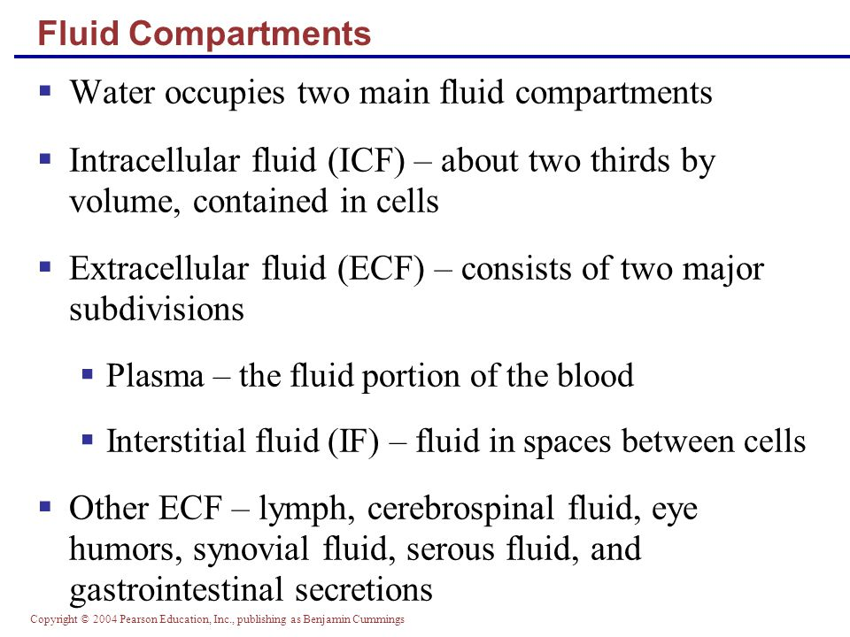 Copyright © 2004 Pearson Education, Inc., publishing as Benjamin Cummings Figure 26.7a Disorders of Water Balance: Dehydration Excessive loss of H 2 O from ECF 1 2 3 ECF osmotic pressure rises Cells lose H 2 O to ECF by osmosis; cells shrink (a) Mechanism of dehydration