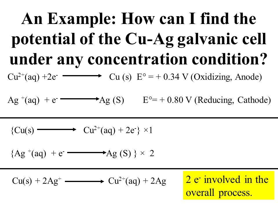 An Example: How can I find the potential of the Cu-Ag galvanic cell under any concentration condition? Cu 2+ (aq) +2e - Cu (s) E  = + 0.34 V (Oxidizi