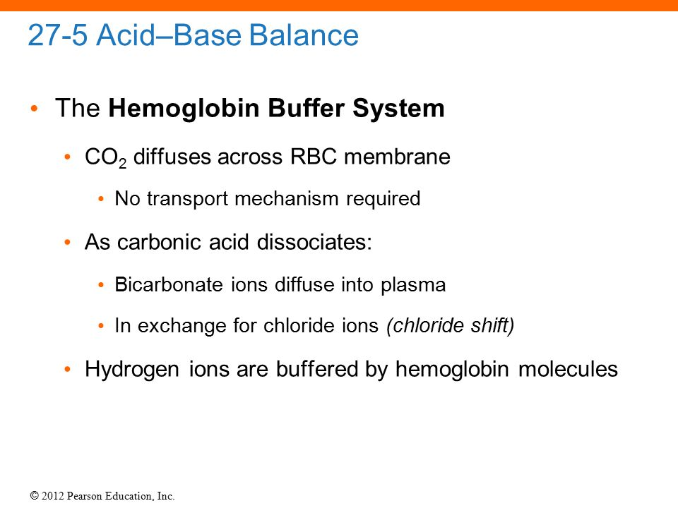 © 2012 Pearson Education, Inc. 27-5 Acid–Base Balance The Hemoglobin Buffer System CO 2 diffuses across RBC membrane No transport mechanism required A