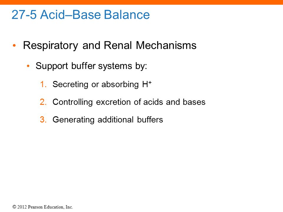 © 2012 Pearson Education, Inc. 27-5 Acid–Base Balance Respiratory and Renal Mechanisms Support buffer systems by: 1.Secreting or absorbing H + 2.Contr