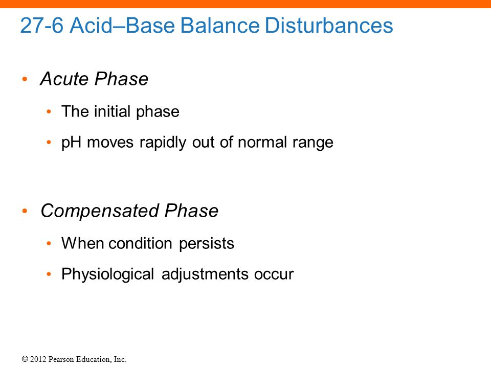 © 2012 Pearson Education, Inc. 27-6 Acid–Base Balance Disturbances Acute Phase The initial phase pH moves rapidly out of normal range Compensated Phas