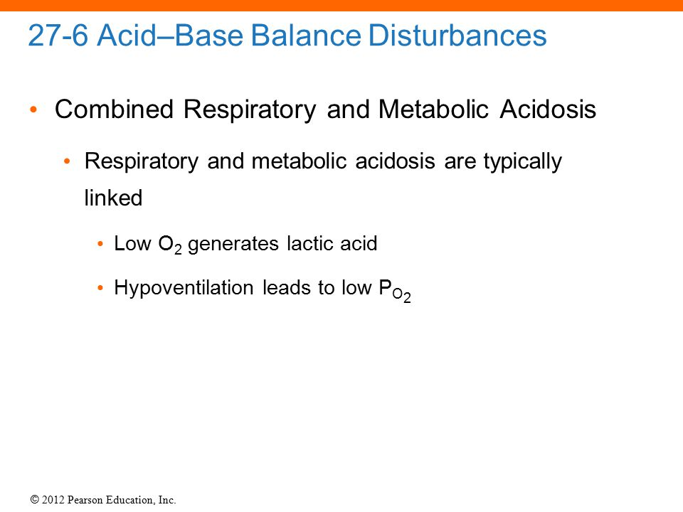 © 2012 Pearson Education, Inc. 27-6 Acid–Base Balance Disturbances Combined Respiratory and Metabolic Acidosis Respiratory and metabolic acidosis are