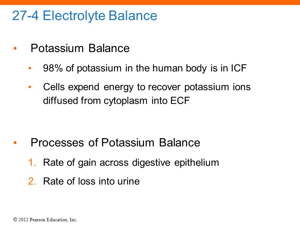 © 2012 Pearson Education, Inc. 27-4 Electrolyte Balance Potassium Balance 98% of potassium in the human body is in ICF Cells expend energy to recover