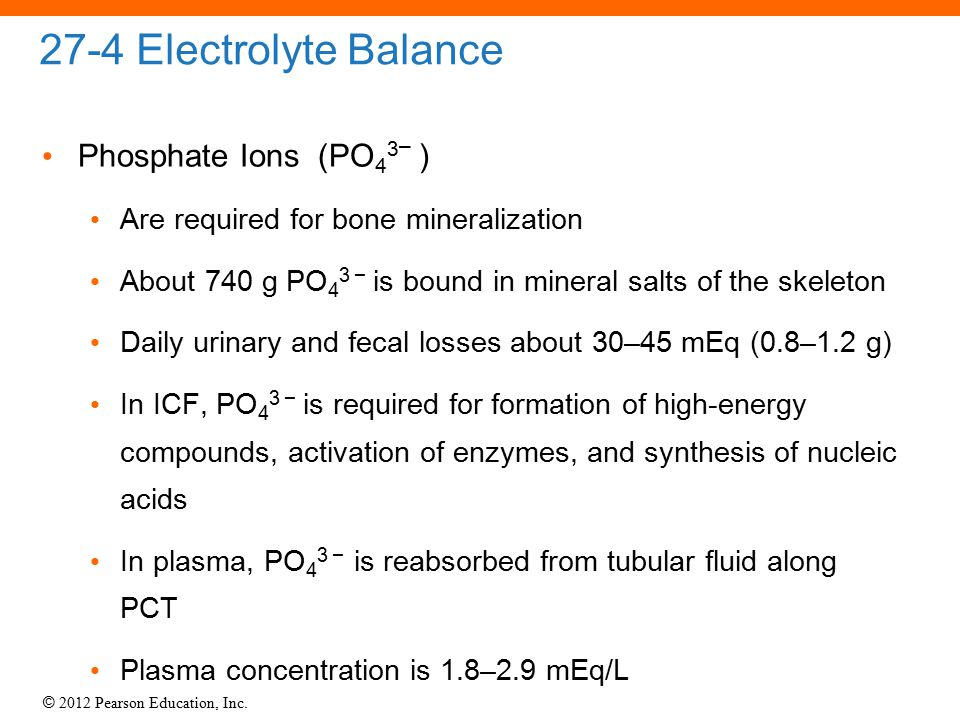 © 2012 Pearson Education, Inc. 27-4 Electrolyte Balance Phosphate Ions (PO 4 3 – ) Are required for bone mineralization About 740 g PO 4 3 – is bound