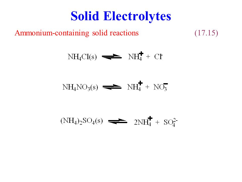 Solid Electrolytes Ammonium-containing solid reactions(17.15)
