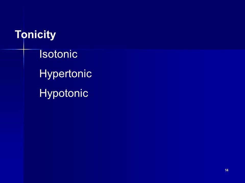 14 Tonicity Isotonic Hypertonic Hypotonic